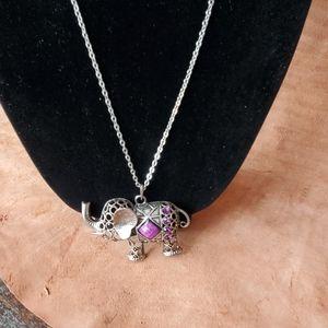 Pewter jeweled elephant pendant on long chain